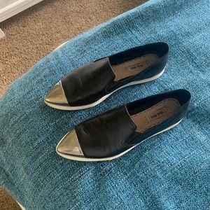 Miu Miu Cap Toe Pointed Sneaker Black 38.5/US 8.5